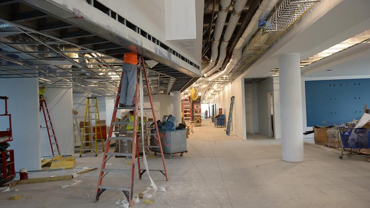 Work continues on the first floor student area at the Broward College-FIU Miramar West Center.