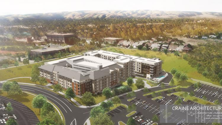A rendering of Union West apartment complex being built near the RTD Federal Center light rail stop.