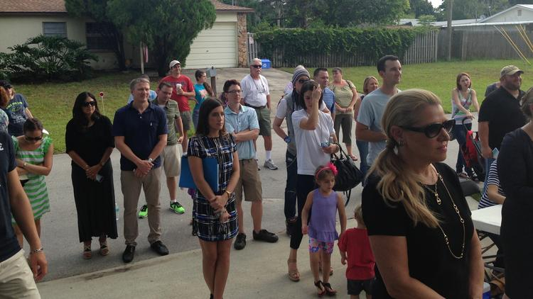 About 75 people turned out for the June 14 dedication ceremony of a Habitat for Humanity home in Pinellas Park, including Mindy Grossman, CEO of HSN Inc. HSN partnered with Habitat on the home.