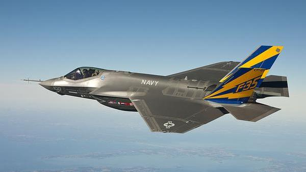 An F-35 Joint Strike Fighter in flight prior to a grounding ordered by the Pentagon over concerns about an oil leak.