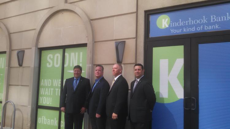 Kinderhook Bank executives, from left, are senior vice president of retail business Jeff Stone; CEO John Balli; senior vice president of operations and technology Tom Signor; and Scott Armando, vice president of business development and manager of the new downtown Albany branch. The branch is expected to open in late summer.