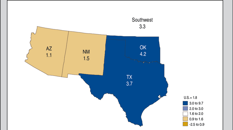 Texas' GDP grew by nearly 4 percent from 2012 to 2013.