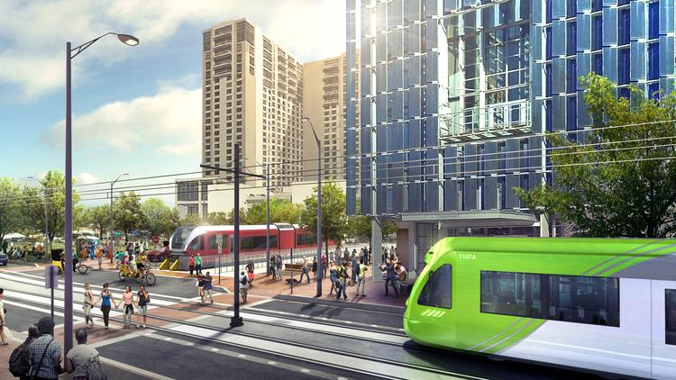 A rendering of what the proposed urban rail line could look like near the downtown Austin Convention Center.