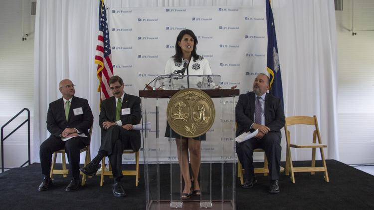 From left at the LPL announcement at the Dairy Barn in Fort Mill: Victor Fetter, CIO of LPL, York County Council Chairman Britt Blackwell, S.C. Gov. Nikki Haley and Mark Casady, CEO of LPL.