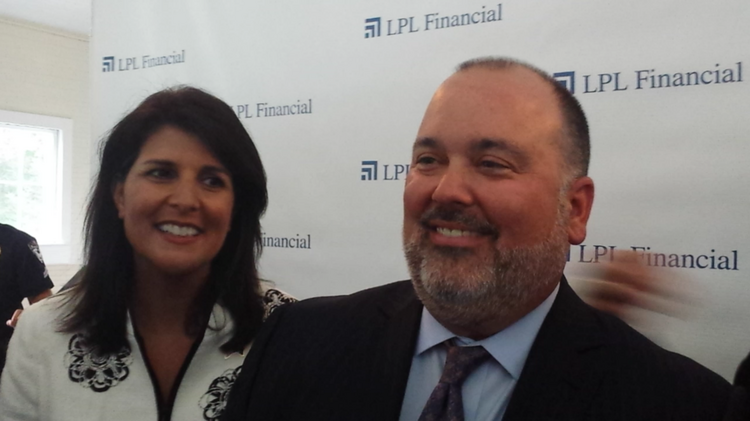 LPL Financial CEO Mark Casady, right, and S.C. Gov. Nikki Haley were all smiles after announcing Casady's firm would bring 2,000 new jobs to Fort Mill and relocate 1,000 more from Charlotte.