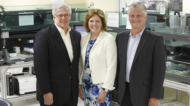 Assurex Health CEO Jim Burns, left, will become executive chairman of the Mason firm's board on July 1, and president Gina Drosos will succeed him as CEO. Don Wright will remain COO.