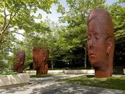 The Jaume Plensa sculpture installation also includes three portraits of women made from cast iron.