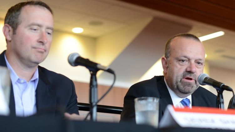 Minnesota Twins President Dave St. Peter (right) and St. Paul Saints General Manager Derek Sharrer at the Business Journal's sports business panel Tuesday.