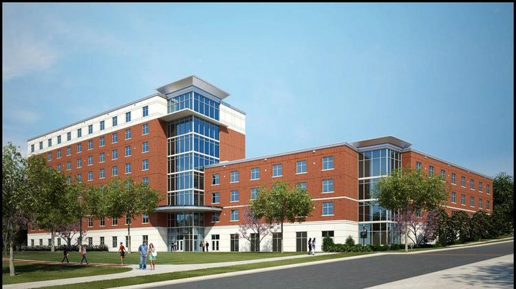 A rendering of a new residence hall planned for the campus at the University of Alabama at Birmingham.