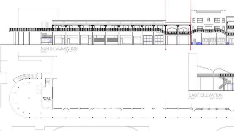 An architectural drawing shows a 160-foot balcony running from MacDinton's, to the right, to 2nd Street N to the left. The drawing is not final.