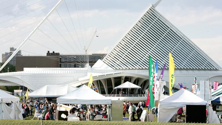 The Lakefront Festival of Art is held each year near the Milwaukee Art Museum, which receives proceeds of the event.