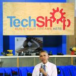 Obama promotes innovation at TechShop stop