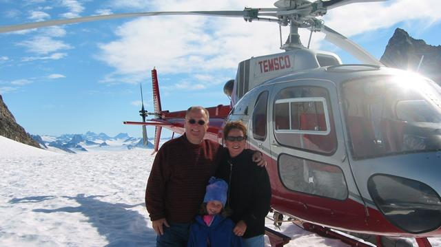 Andy Birol with his wife and daughter in 2000 in the Alaskan glacial snow fields.