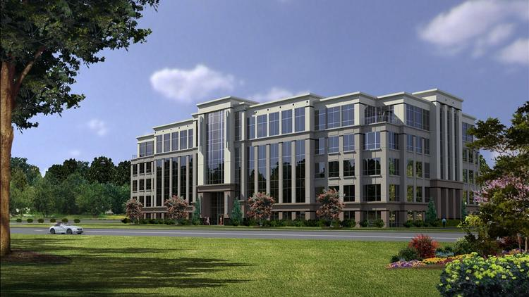 A rendering of Two Greenway Centre. The five-story, 150,000-square-foot building is designed by Little Diversified Architectural Consulting of Charlotte, where Crescent is also based.