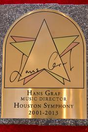 "Hans Graf's gold star on the ""Walk of Fame"" at Jones Hall"