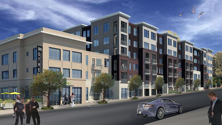 An artist's rendering of the proposed Solis Ninth Street apartment community that Charlotte-based Terwilliger Pappas is planning in Durham.