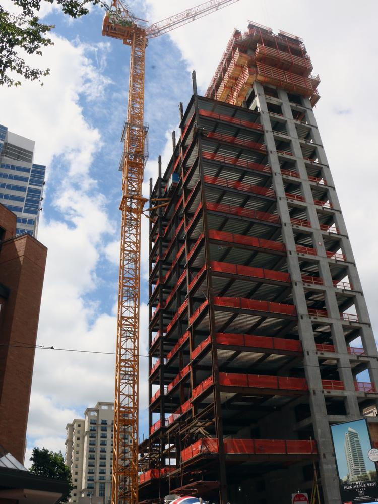 Park Avenue West, under construction at Southwest Ninth and Park Avenue in downtown Portland, has reached 18 of 30 stories.