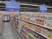 A grocery section in a Walmart Express store.