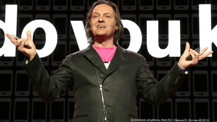 T-Mobile CEO John Legere speaks at a press event announcing new services including unlimited music streaming.