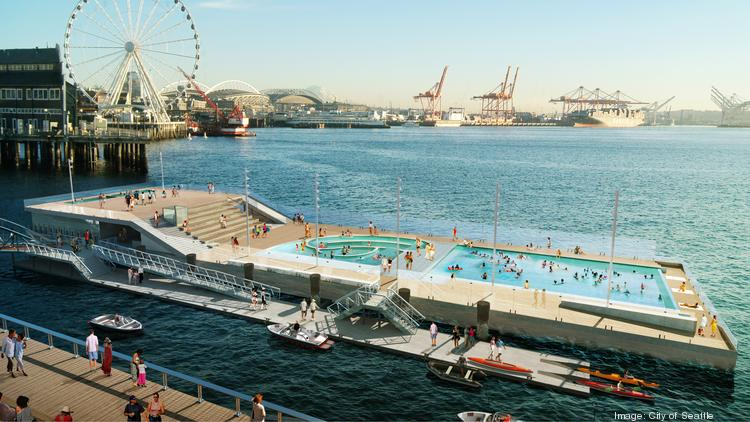 There are numerous proposals for public spaces on Seattle's new waterfront. One is a swimming pool barge, shown in the foreground, at Pier 62/63. A new showroom that's opening this fall at 1400 Western Ave. will have exhibits that will show visitors what the waterfront might look like.