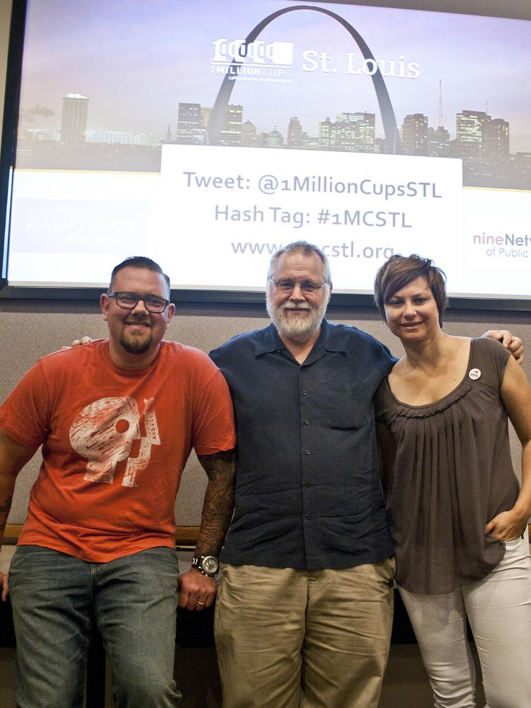 Gary Bredow (left) and Jenny Feterovich (right) with Paul Heirendt, organizer of 1 Million Cups in St. Louis
