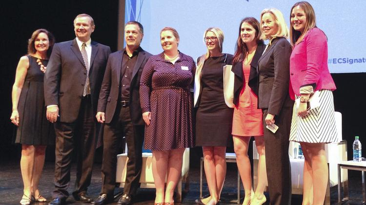 Erica Bell, fourth from right, and Katie Finnegan, third from right, are the co-founders of Hukkster, a shopping tool that notifies customers when products go on sale. The two spoke at The Enterprise Corp. 2014 Signature Event on June 18, 2014.