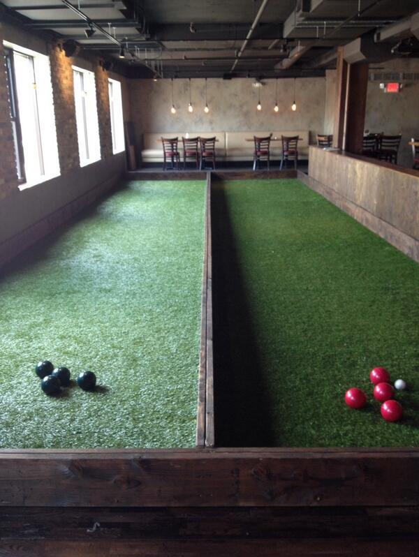 Republic Uptown opened bocce courts inside the Calhoun Square bar.
