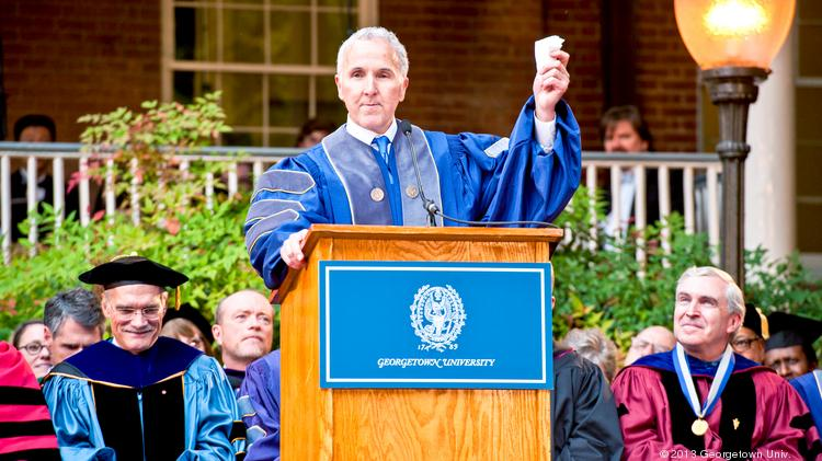 Developer Frank McCourt hails the start of his alma mater;s new McCourt School of Public Policy last year.
