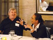 Roger Perry, co-owner of Datz, and B.T. Nguyen, owner of Restaurant BT, share a fun moment.