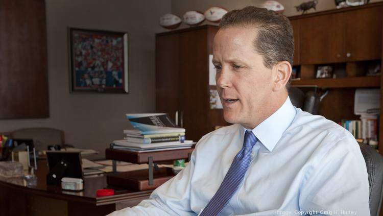 Jamey Rootes, president of the Houston Texans, in the corporate offices of Reliant Stadium.