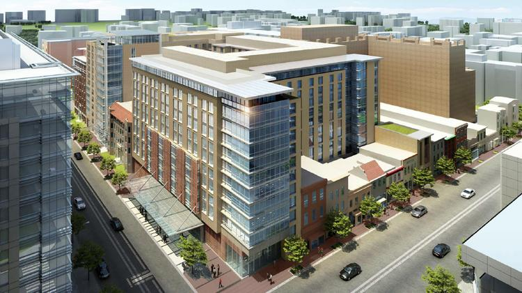 Columbia Place, from Quadrangle Development and Marriott, will include two new Marriott hotels. The PUD was filed this week.