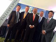 "Crescent Real Estate broke ground on its new $225 million Uptown office tower that's been coined by Cesar Pelli as being ""very sexy."" (L-R) John Zogg of Crescent, Mayor Mike Rawlings, Pelli, Crescent CEO John Goff and Joseph Pitchford."