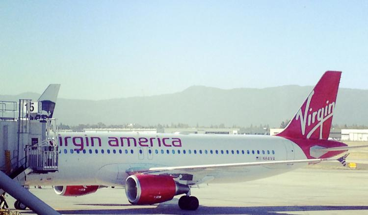 An exterior shot of the first Virgin America flight arriving in San Jose after the quick trip from Los Angeles.