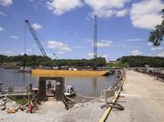 The pier foundations for the East End bridge's two towers have been completed.
