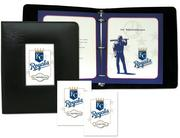 Kansas City Royals-themed stationery from Brand Memorials includes a register book, service folders, and acknowledgment cards.