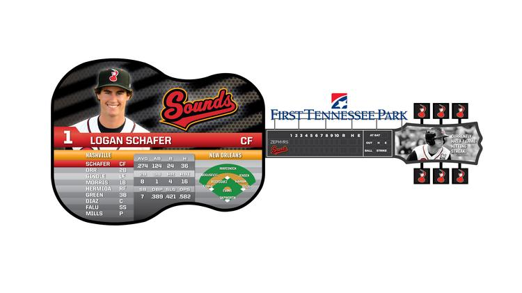 The planned design for the Nashville Sounds' new scoreboard at First Tennessee Park.