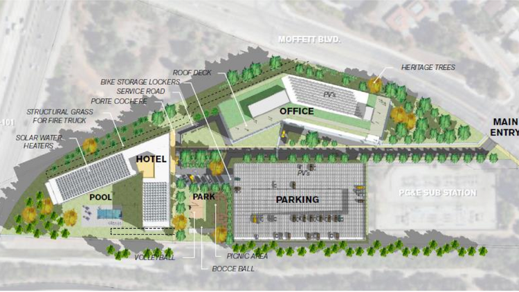 A site plan shows a concept of Broadreach Capital Partners' development on the Mountain View-owned parcel.