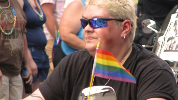 A motorcyclist rides during Chicago's Gay Pride parade.