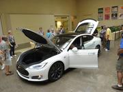 Tesla's Model S on display at the new gallery at NorthPark Center.