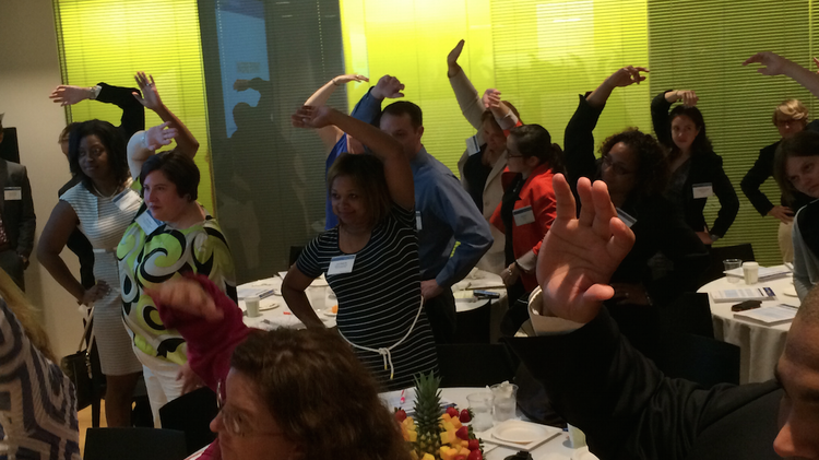 During a break in a meeting at Kaiser Permanente Center for Total Health on Friday, attendees were — true to form — encouraged to take a stretching break.