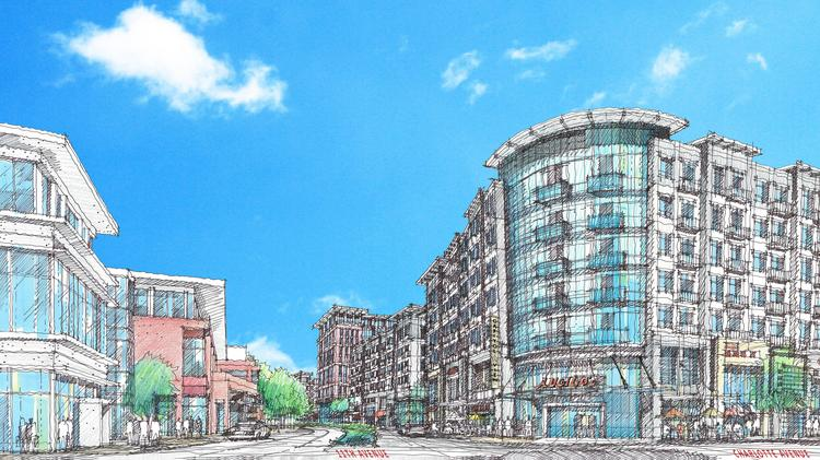 A rendering depicting part of Capitol View, a development Boyle Investment Co. is spearheading along Charlotte Avenue in the downtown core. As conceived, Capitol View will include 1 million square feet of offices, 1,000 apartments, retail, restaurants, two hotels, a grocery store and a movie theater. This rendering was done by architect Cooper Carry, based in Atlanta.