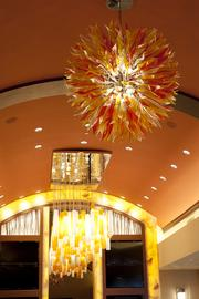 This photo offers a closer look at the glass light fixture.