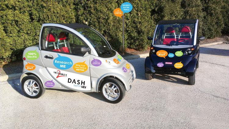 The University Electric Vehicle debuted during the Internet2 Global Summit, held in April, in Denver.