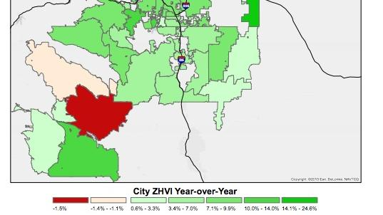 This map of the Denver metro area shows the county-by-county increase of home values in the Denver metro area.