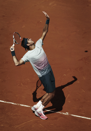 Juan Martin del Potro's French Open outfit in action.
