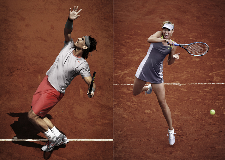 Defending French Open champions Rafael Nadal and Maria Sharapova in their 2013 Nike-designed get-ups. Click through the gallery for a glimpse at other player laydowns.