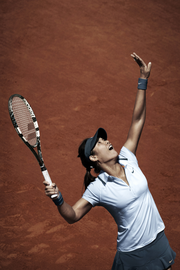 Li Na's French Open outfit in action.
