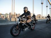 Harley-Davidson riders reveal Project LiveWire, the first electric Harley-Davidson motorcycle during a special ride across the iconic Manhattan Bridge.