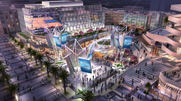 The Orlando Magic's complex sits on 7.82-acre north of West Church Street, east of South Division Avenue, south of West Central Boulevard and west of South Hughey Avenue.