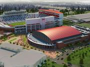 A rendering of the new arena in Ole Miss that will be built by Birmingham's BL Harbert International.